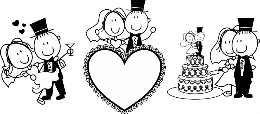 14207571 - set of isolated cartoon couple scenes, ideal for funny wedding invitation